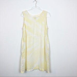 Linen Tie Dye Shift Dress • Yellow and White sz L